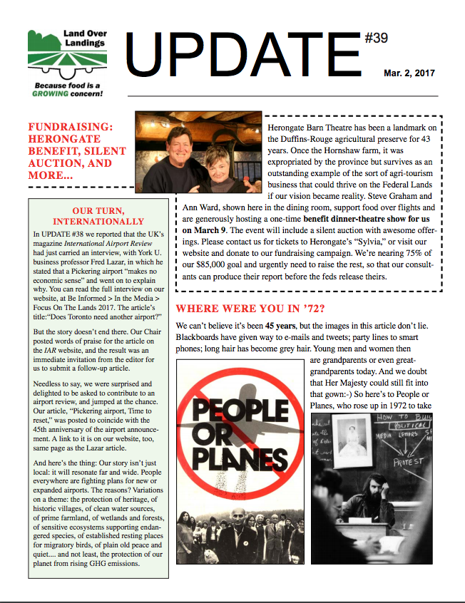Front cover of UPDATE #39, March 2, 2017