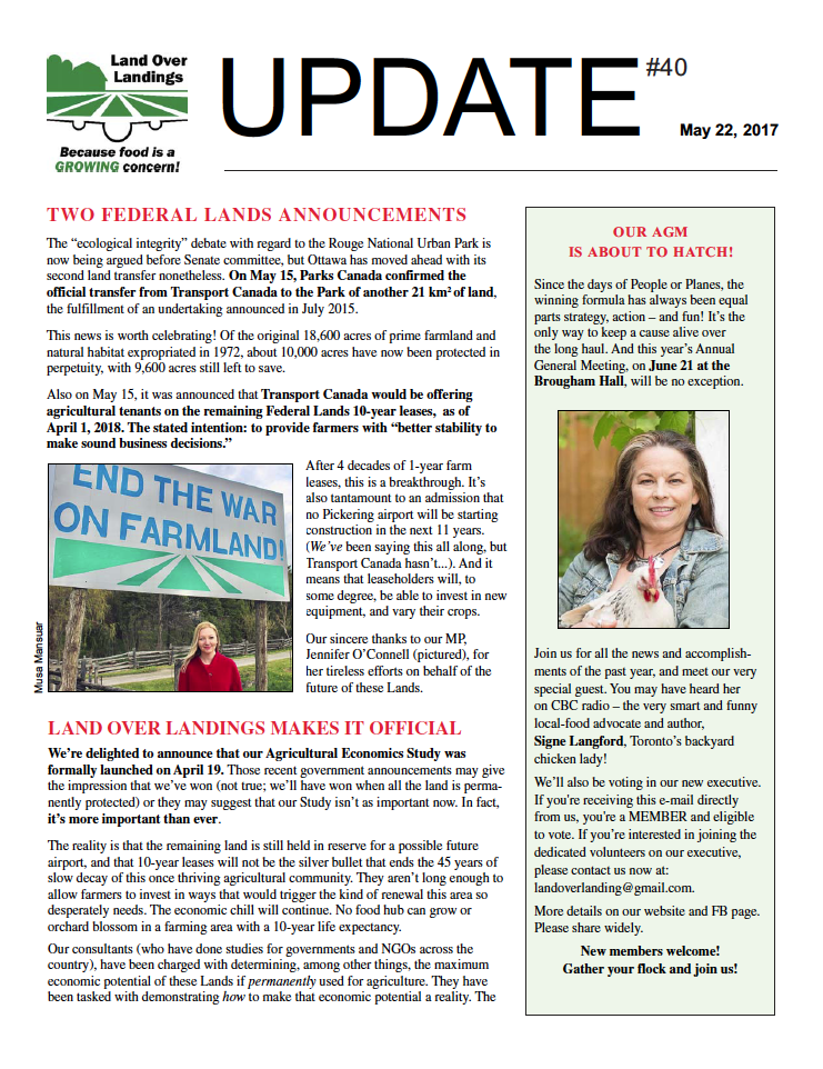 Photo of page one of Update Newsletter for May 2017