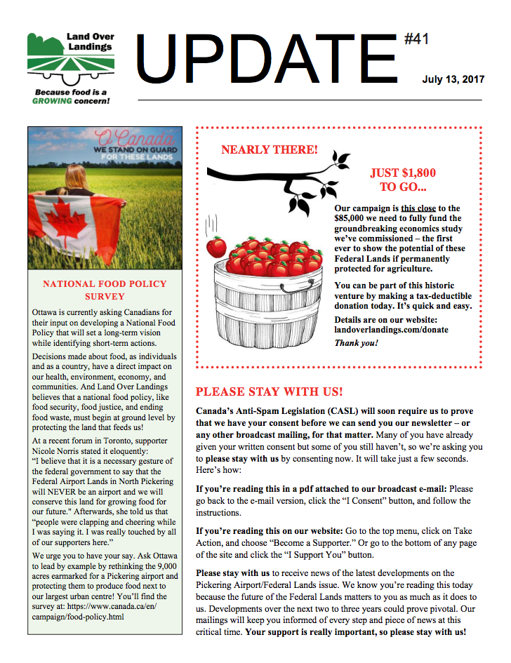 Front page of Update Newsletter July 2017