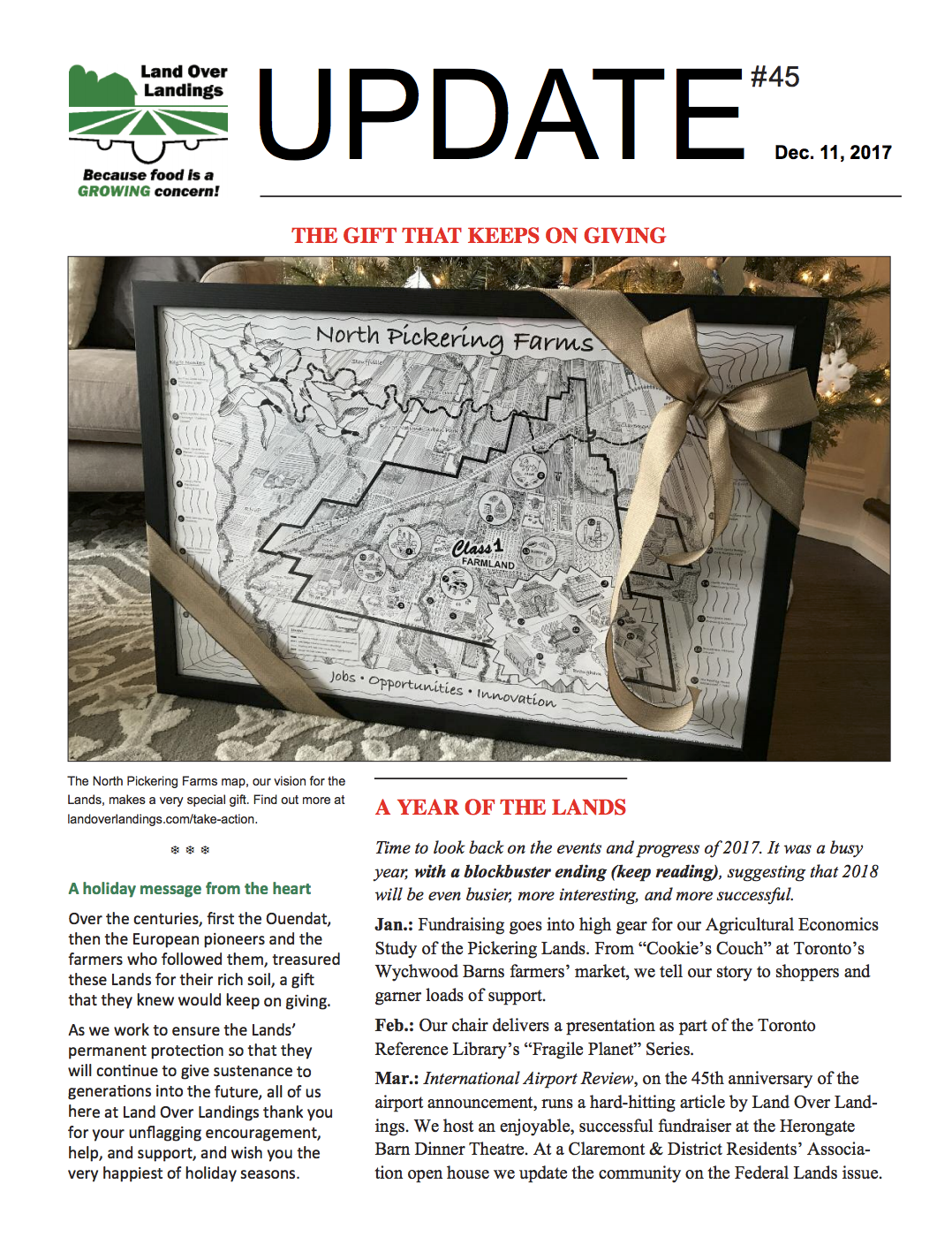 Front page of Update Newsletter - Dec 2017