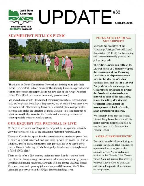 Front page of UPDATE September 2016 newsletter