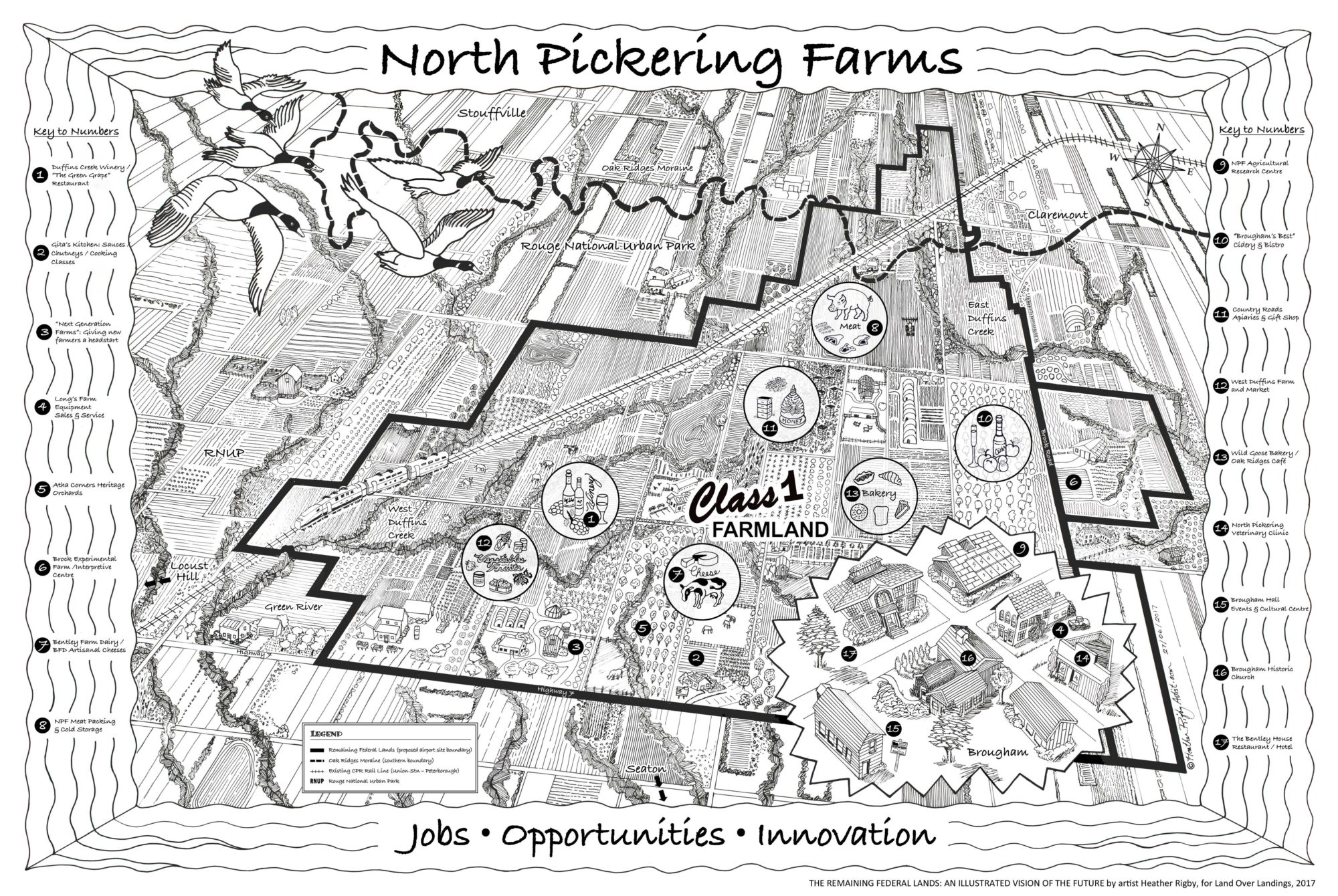 Drawing of North Pickering Farms map